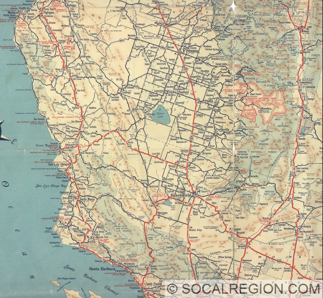 California And Cities Southern California Regional Rocks - Map of central california