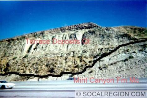 Roadcut along Highway 14 showing terrace deposits abutting Mint Canyon Formation rock below.