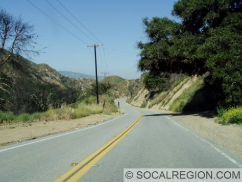 Typical stretch of Placerita Canyon, east of Placerita Canyon Park