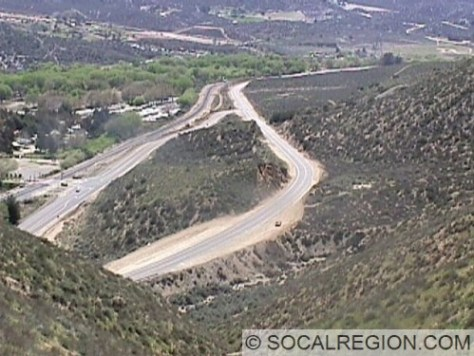 View of the junction of Crown Valley Road (left) and Soledad Canyon Road (right) from the slopes of Parker Mountain.