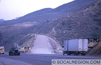 Truck Escape Ramp in 1968 before the new southbound lanes were opened. Note the downhill traffic still using the roadway. Photo Courtesy - Gordon Glattenberg