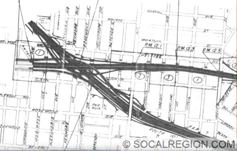 """Interchange as shown on 1974 Caltrans Right of Way maps. This was the last design for the interchange. Note how the interchange is now north of the """"built"""" interchange at Vermont Ave."""