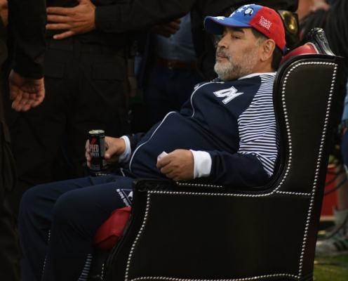Diego Maradona Coaches Team to Victory From Pitch-Side Throne, Because Maradona