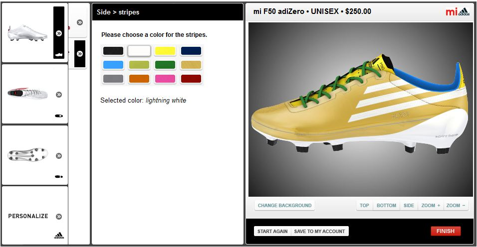 41f56ac81f4b Adidas have set up a very easy and intuitive system for you to create your  own cleats. The layout is extremely easy to follow