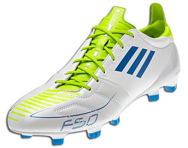 adidas f50 adizero in weiß / blau eloxiert / schleim stollenschuhe.