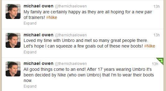 Michael Owen switch to Nike