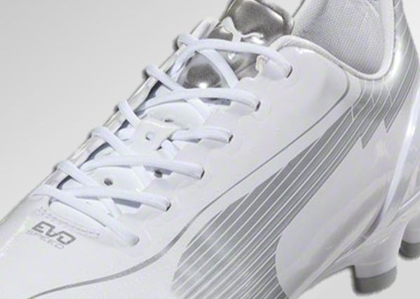 puma evospeed white silver