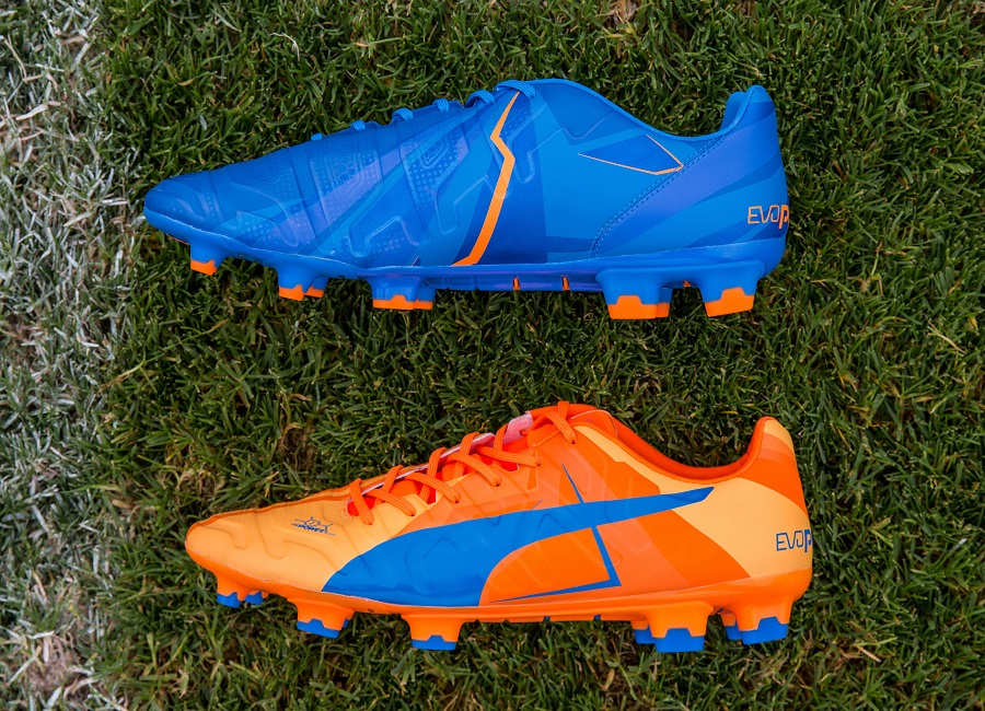 puma football boots blue and orange