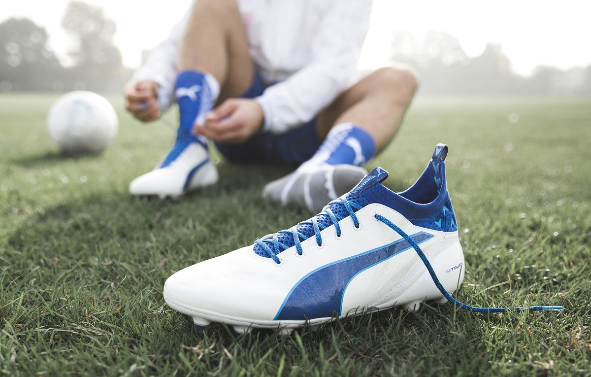 puma evotouch blue and white