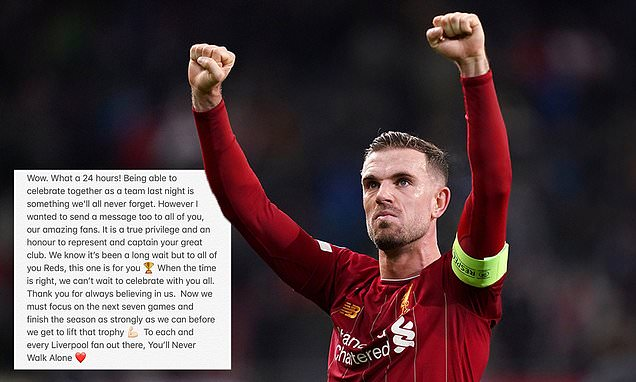Henderson sends message to Liverpool fans a day after title wrapped up