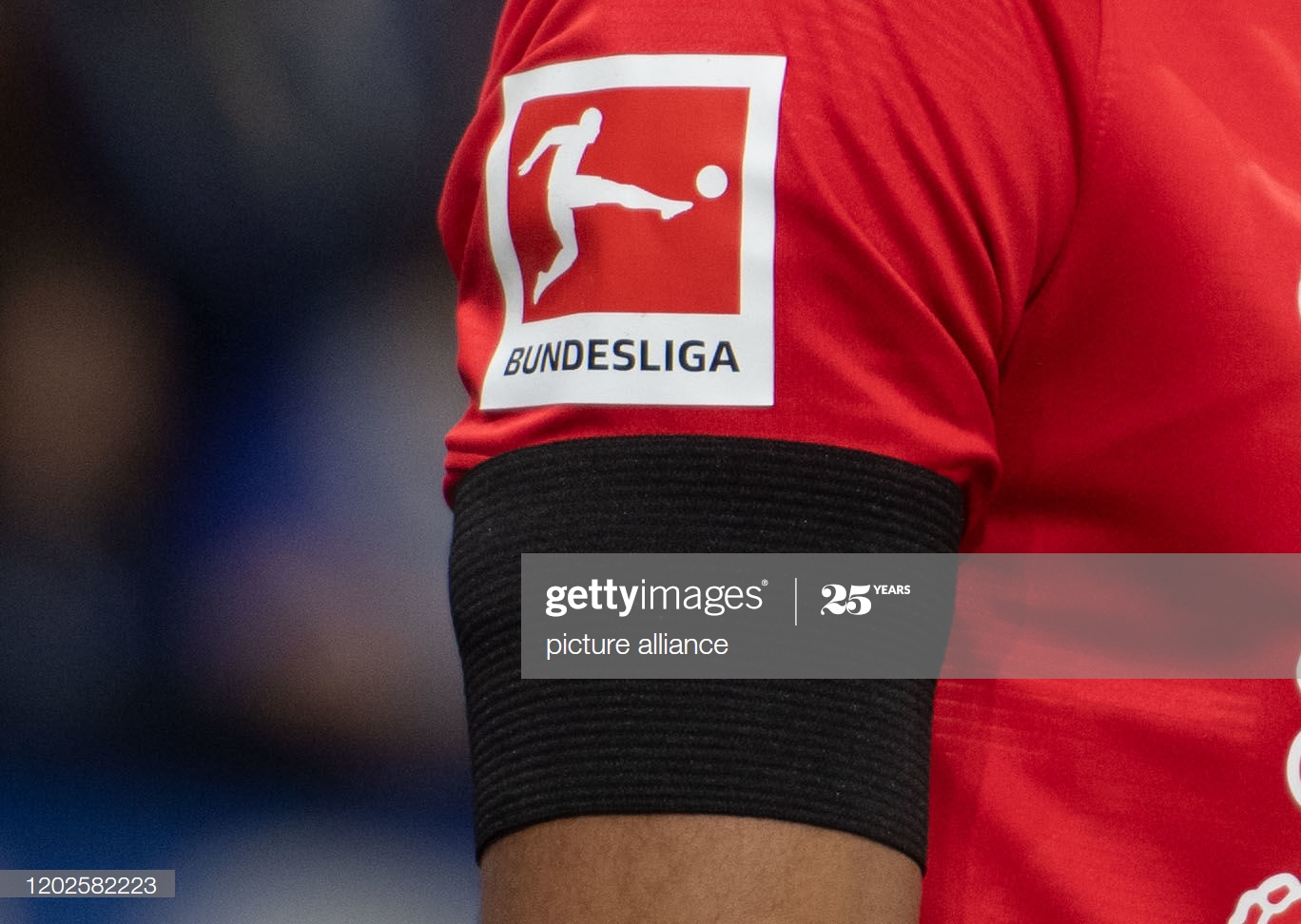 22 February 2020, North Rhine-Westphalia, Gelsenkirchen: Football: Bundesliga, FC Schalke 04 - RB Leipzig, 23rd matchday in the Veltins Arena: A player from Leipzig wears black ribbon. Photo: Bernd Thissen/dpa - IMPORTANT NOTE: In accordance with the regulations of the DFL Deutsche Fußball Liga and the DFB Deutscher Fußball-Bund, it is prohibited to exploit or have exploited in the stadium and/or from the game taken photographs in the form of sequence images and/or video-like photo series. (Photo by Bernd Thissen/picture alliance via Getty Images)