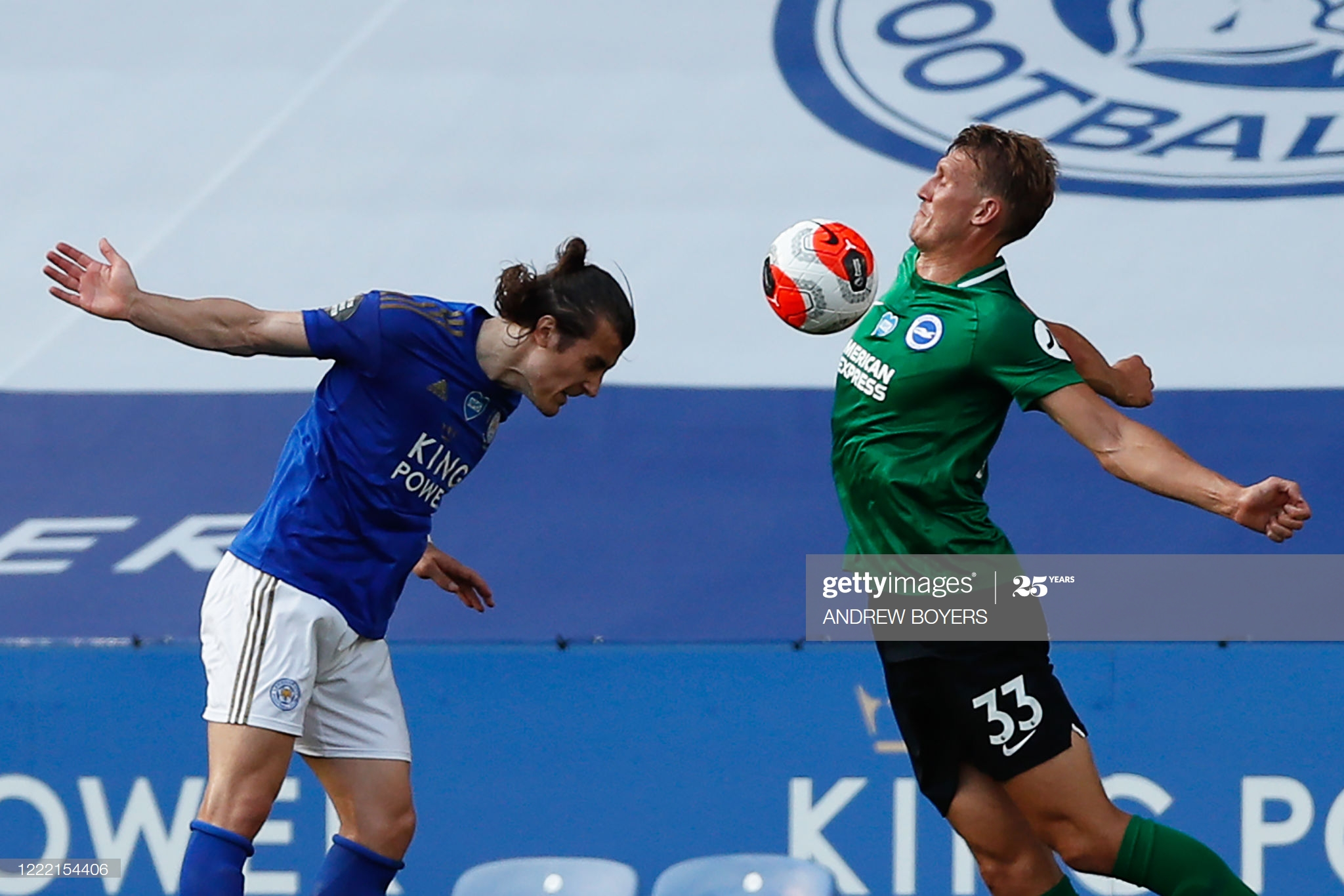 Leicester City's Turkish defender Caglar Soyuncu (L) vies for the ball with Brighton's English defender Dan Burn  during the English Premier League football match between Leicester City and Brighton and Hove Albion at the King Power Stadium in Leicester, central England, on June 23, 2020. (Photo by ANDREW BOYERS / POOL / AFP) / RESTRICTED TO EDITORIAL USE. No use with unauthorized audio, video, data, fixture lists, club/league logos or 'live' services. Online in-match use limited to 120 images. An additional 40 images may be used in extra time. No video emulation. Social media in-match use limited to 120 images. An additional 40 images may be used in extra time. No use in betting publications, games or single club/league/player publications. /  (Photo by ANDREW BOYERS/POOL/AFP via Getty Images)