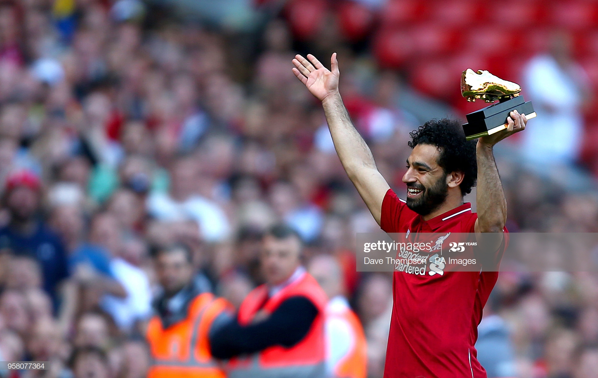 Liverpool's Mohamed Salah with the golden boot award after the Premier League match at Anfield, Liverpool. (Photo by Dave Thompson/PA Images via Getty Images)