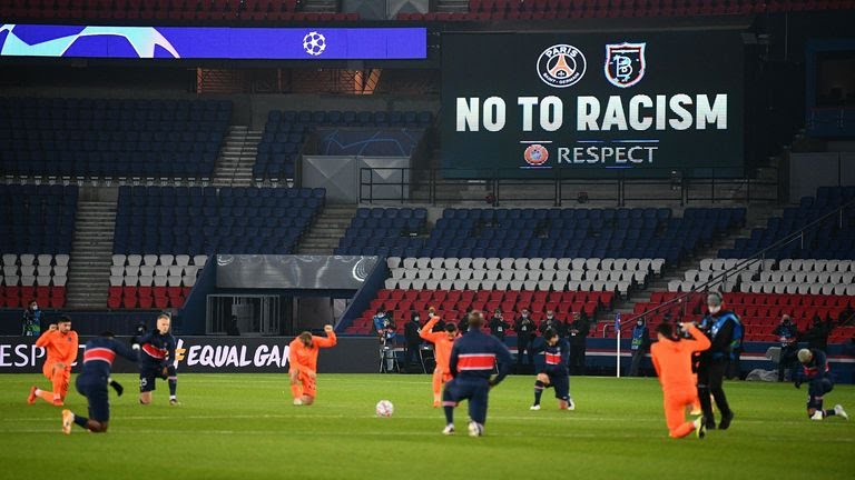 PSG an Basaksehir players all go on their knee to oppose rasicm