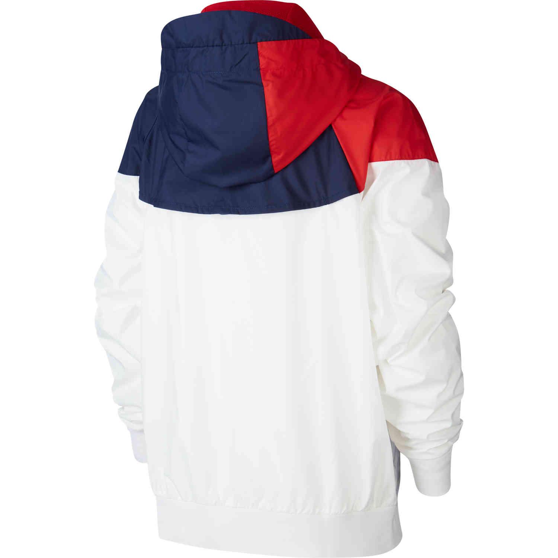 kids nike psg woven windrunner jacket white midnight navy university red soccer master