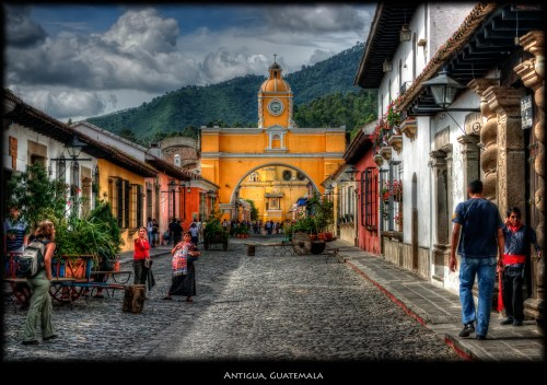 Antigua Guatemala translates to Ancient Guatemala. The town is located in the country's central highlands with a total population of around 35,000.