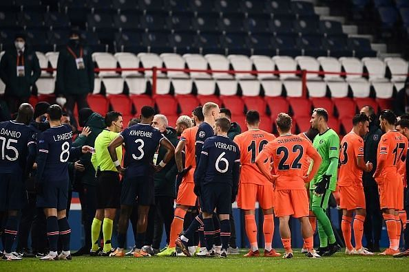 PSG and Istanbul Basaksehir players leave the pitch in protest as official allegedly uses racist language (Video)