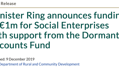 Minister Ring announces funding of €1m for Social Enterprises with support from the Dormant Accounts Fund