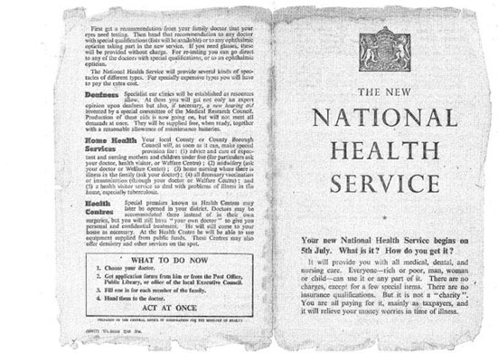 Pages from the first leaflet introducing NHS to British Public in 1948.