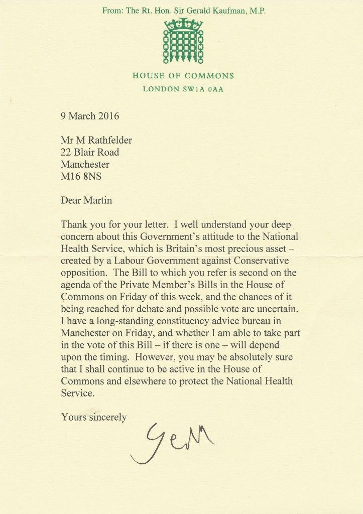 Gerald Kaufman's letter