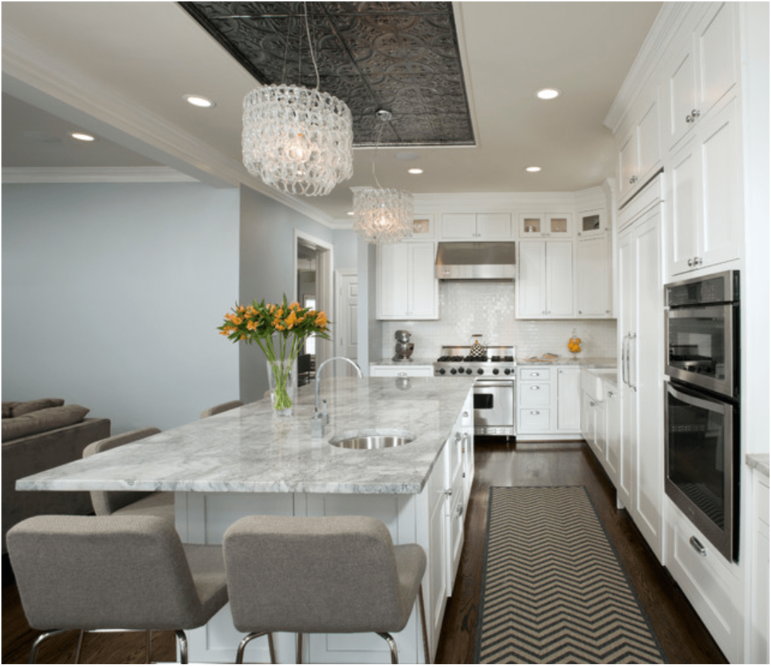 kitchen ceiling tiles low cost sinks trend tin so chic life