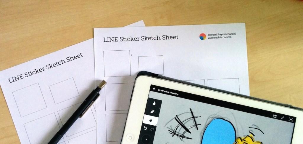LINE Sticker Sketch Sheet by Teerasej Sochiie