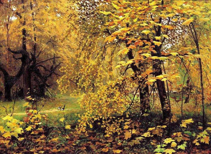 золотая осень в парке на картине Остроухова
