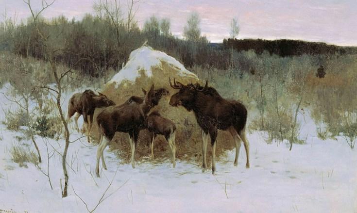 лоси возле стога сена зимой на картине Степанова