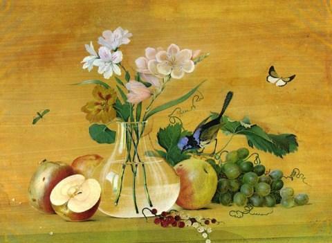 цветы, фрукты, птица, бабочка, насекомые