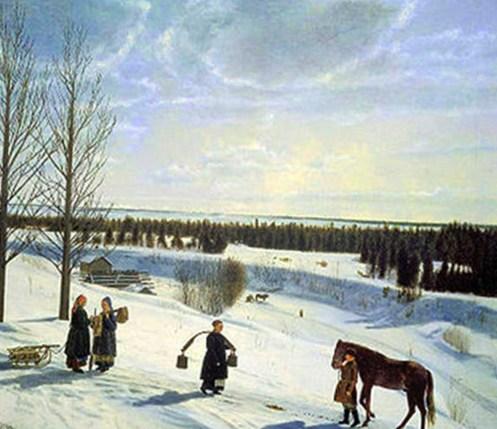русская зима в деревне на картине Крылова