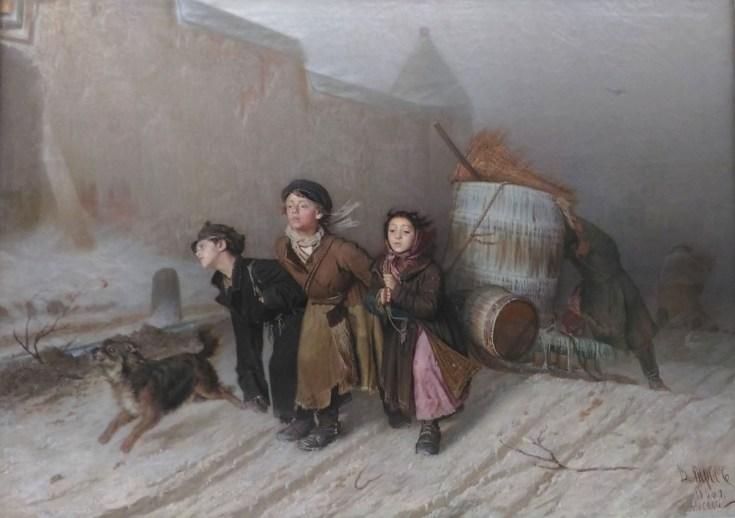 тройка крестьянских детей на картине Перова