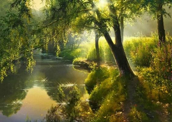 волшебное утро на берегу реки