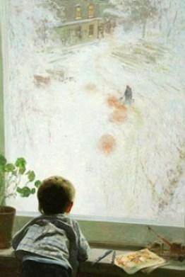мальчик у окна смотрит на выпавший снег на картине Хузина