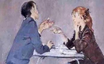 спор между парнем и девушкой на картине Пименова