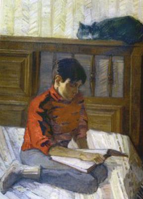 портрет сына за чтением книги на картине О.В.Белоковской