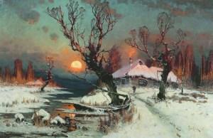 закат солнца зимой в деревне на картине Клевера