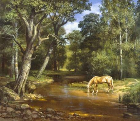 лесная прохлада у ручья на картине Сатарова