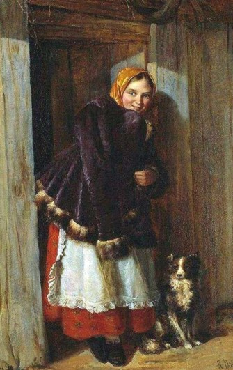 улыбающаяся девушка стоит у калитки на картине Рачкова