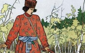 Иван-царевич и лягушка-квакушка посреди болота на картине Билибина