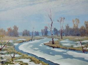 ранняя весна у реки и в лесу на картине Куинджи