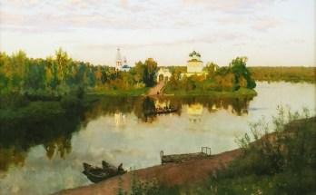 на картине Левитана можно увидеть реку, лес, монастырь
