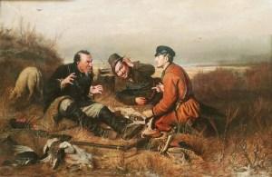 охотники на привале беседуют на картине Перова