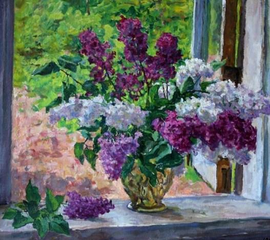 сирень в окне на фоне зелени на картине Кончаловского