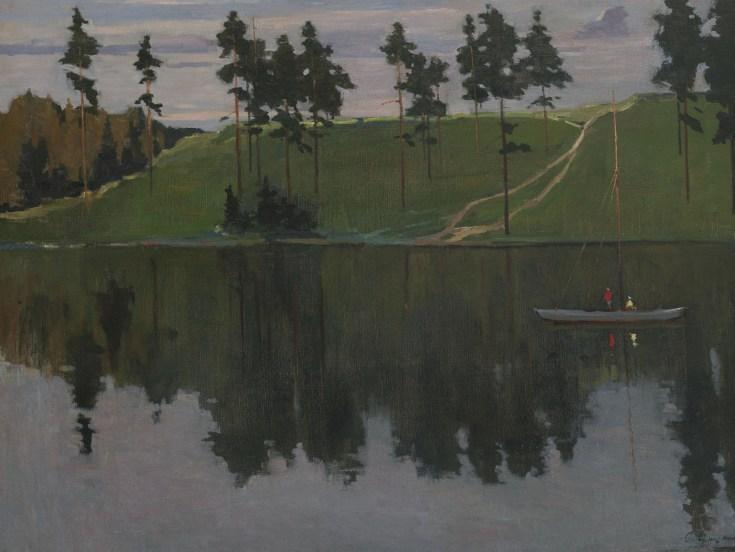 рыбаки на лодке и вечер в Подмосковье на картине Нисского