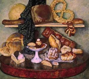 снедь московская и различные хлебы на картине И.И.Машкова