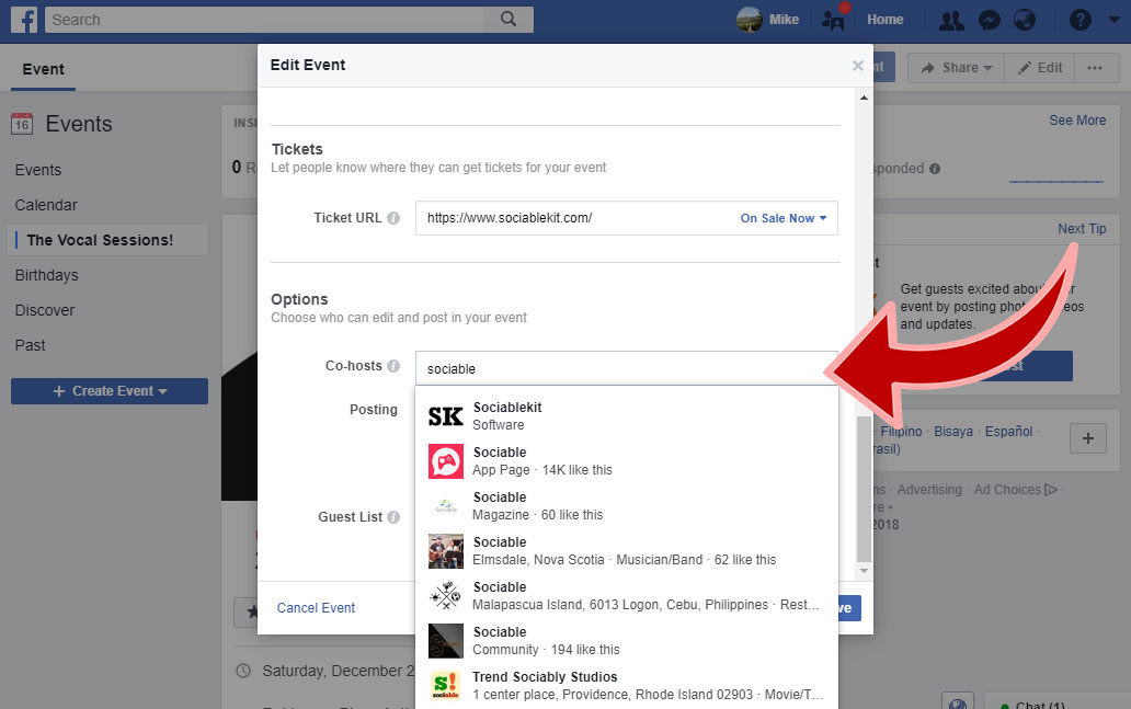 How to add a Facebook page as event host? – SociableKIT