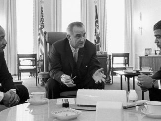 Dr Martin Luther King, Jr and other civil rights leaders met with President Lyndon Johnson, who launched the war on poverty, at the White House in 1964.
