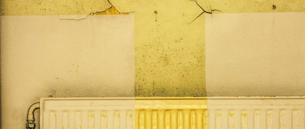 image of a radiator with cracked walls in yellow