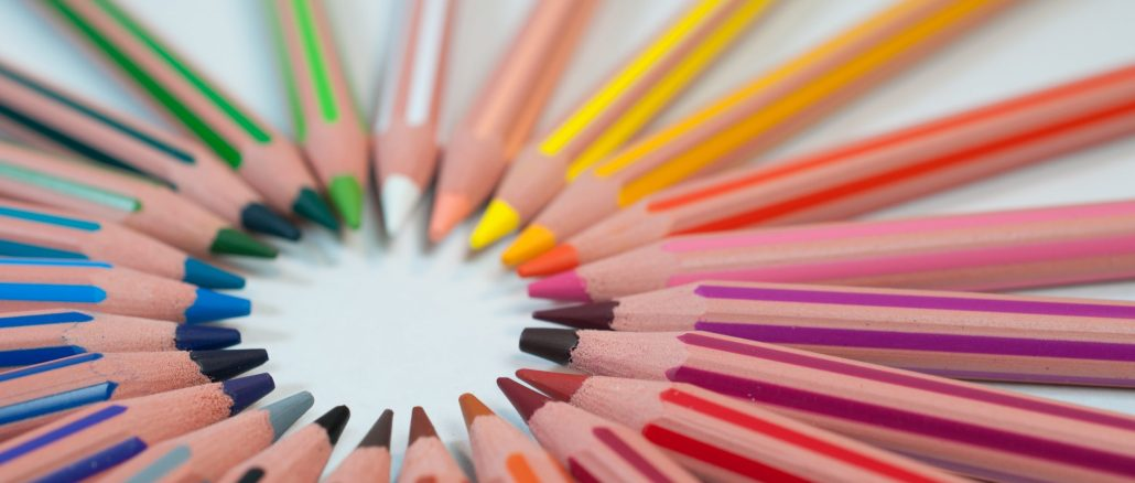 circle of coloured pencils