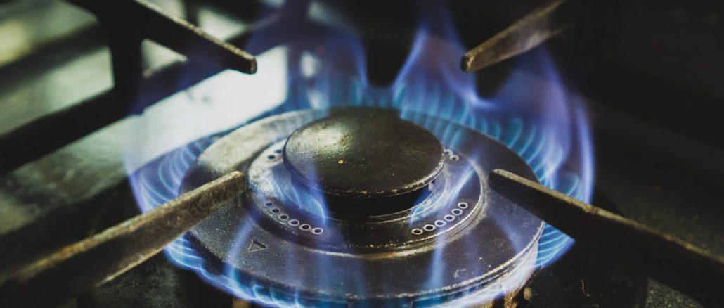 Image of a gas hob, alight.